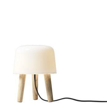 AndTradition - Milk Tischleuchte - weiß/Holz/Kabel schwarz/mit Dimmer