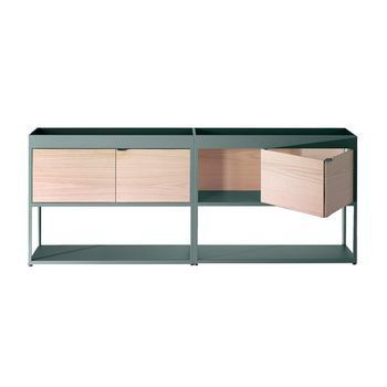 HAY - New Order Regal/Sideboard 200x79.5cm - army dunkelgrün/esche/mit 2 Holztüren