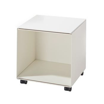 Richard Lampert - Stak Container 1 mit Rollen - weiß/gekantetes Stahlblech/Platten MDF melaminbeschichtet/H:45cm