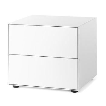 Piure - Nex Pur Box Schubkastenbox 60x52.5x48cm - weiß/MDF matt lackiert/mit Gleitfüße/2 Schubladen