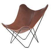 cuero - Pampa Mariposa Butterfly Chair Sessel - dunkelbraun/Chocolate 67/Gestell schwarz