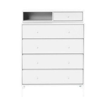 Montana - Keep Kommode 94,8x 69,6x46,8cm - new white 101/lackiert/1x Modul mit Schublade Tiefe 30cm/mit weißen Füßen