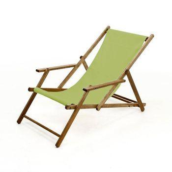Jan Kurtz - Deckchair Liegestuhl - pistazie/Gestell teak/Textilene