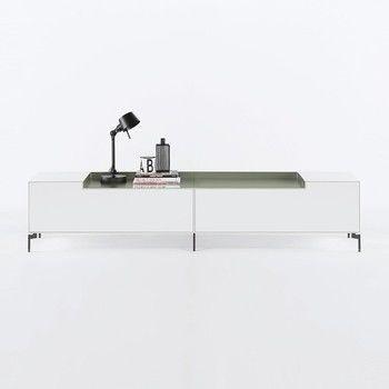 Piure - Nex Pur Box Lowboard Eckfüße 240x50.5x48cm - weiß/grün/MDF matt lackiert/mit Eckfüße in anthrazit/mit 2 Aluminium-Aufsätzen in der Farbe grün