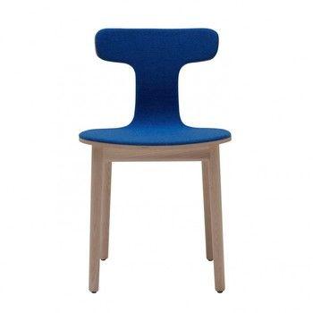 Cappellini - Bac One Stuhl - dunkelblau/esche gebleicht/Stoff Hallingdal 750/Sitzschale gepolstert/45x75x48cm