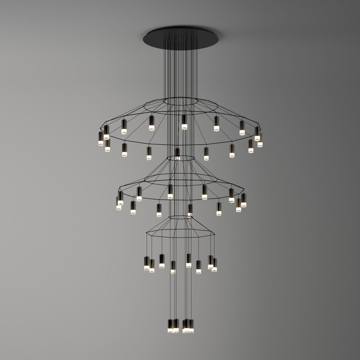 wireflow chandelier 0378 led suspension lamp vibia. Black Bedroom Furniture Sets. Home Design Ideas