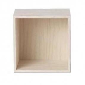 Muuto - Stacked 2 Einzelfach Pinie - pinie/Holz/mit Rückseite/43,6x43,6x35cm