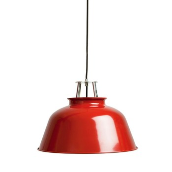 NORR 11 - Station Lamp Pendelleuchte - rot/innen weiß/Ø 42cm/H: 29cm