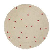 ferm LIVING - Jute Red Dots Teppich