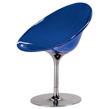 Kartell - Ero/S/ Drehstuhl - kobaltblau/transparent/Drehfuß aus glänzendem Aluminium