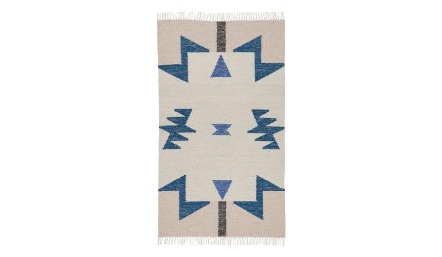 Kelim Blue Triangles Teppich  ferm LIVING