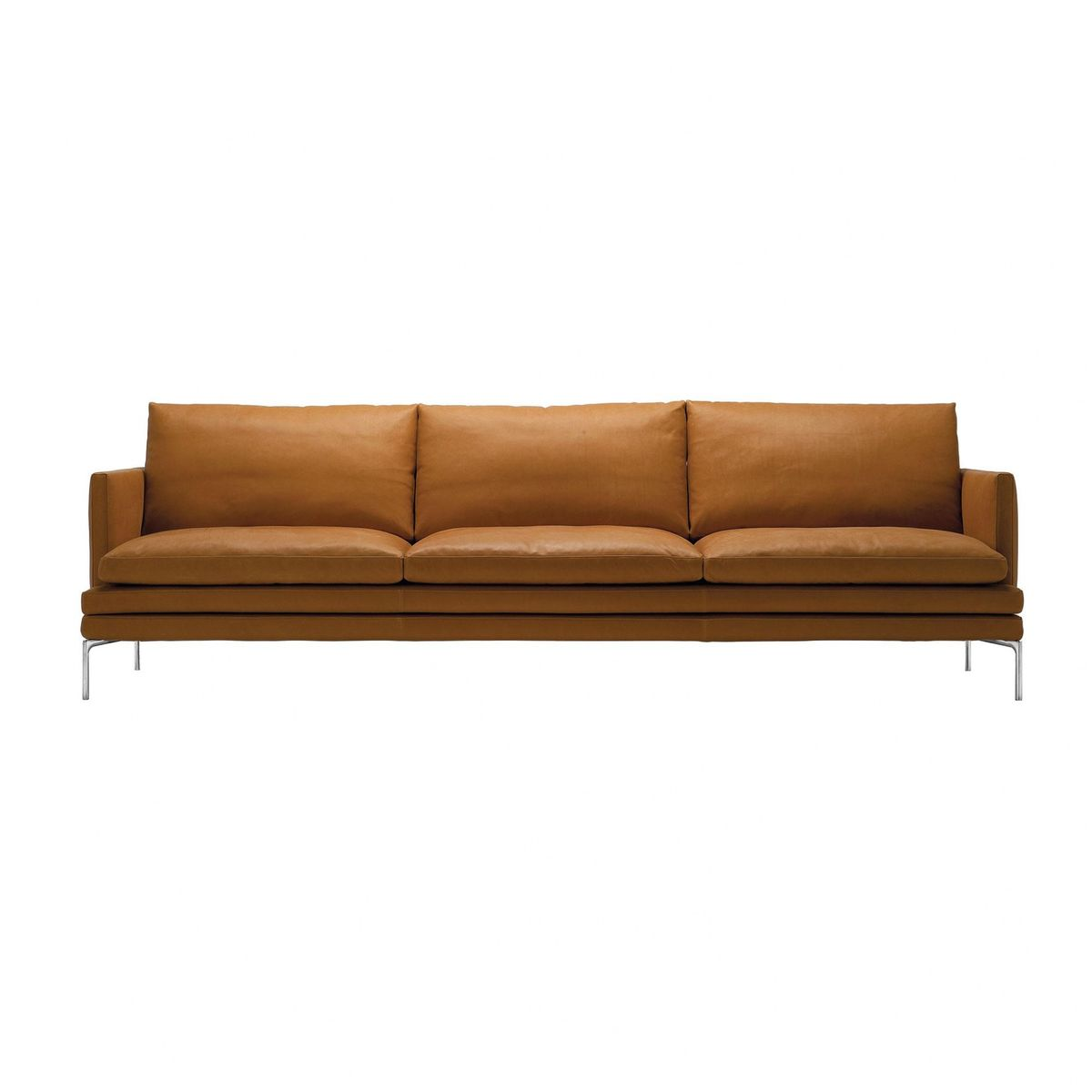 Zanotta - William 3-Sitzer Sofa 226x87x90cm - cognac/Leder Naturale ...