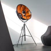 - Fortuny Petite Bronze Rubelli LED Stehleuchte - schwarz/bronze/Stoff/3000K/3500lm/mit Dimmer